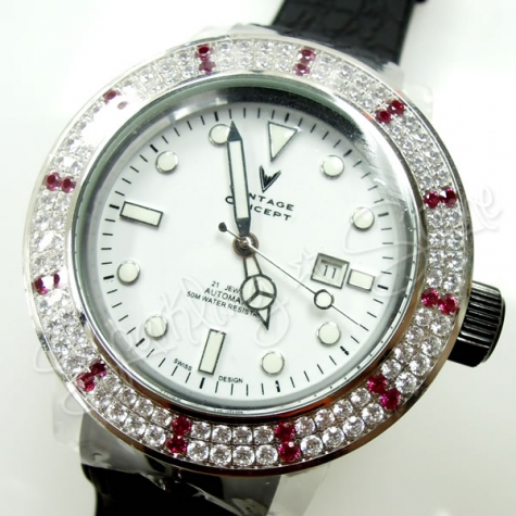 Vintage Concept X Swarovski Watches 50mm Rhinestones
